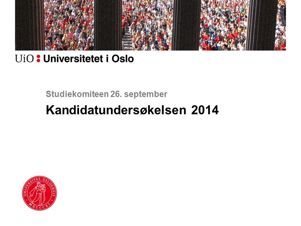 Studiekomiteen 26. september Kandidatundersøkelsen 2014