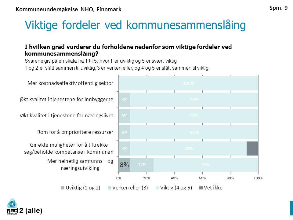 Viktige fordeler ved kommunesammenslåing I hvilken grad vurderer du forholdene nedenfor som viktige fordeler ved kommunesammenslåing.