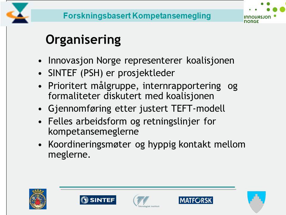 Forskningsbasert Kompetansemegling Organisering Innovasjon Norge representerer koalisjonen SINTEF (PSH) er prosjektleder Prioritert målgruppe, internrapportering og formaliteter diskutert med koalisjonen Gjennomføring etter justert TEFT-modell Felles arbeidsform og retningslinjer for kompetansemeglerne Koordineringsmøter og hyppig kontakt mellom meglerne.