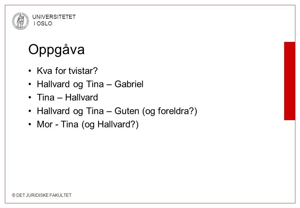 © DET JURIDISKE FAKULTET UNIVERSITETET I OSLO Oppgåva Kva for tvistar.