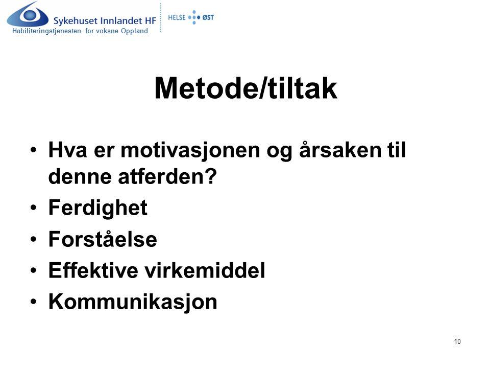 Habiliteringstjenesten for voksne Oppland 10 Metode/tiltak Hva er motivasjonen og årsaken til denne atferden? Ferdighet Forståelse Effektive virkemidd