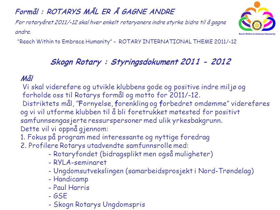 """Reach Within to Embrace Humanity"" - ROTARY INTERNATIONAL THEME 2011/-12 Skogn Rotary : Styringsdokument 2011 - 2012 Formål : ROTARYS MÅL ER Å GAGNE A"