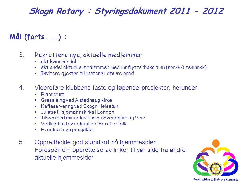 Skogn Rotary : Styringsdokument 2011 - 2012 Mål (forts. ….) : 3. Rekruttere nye, aktuelle medlemmer økt kvinneandel økt andel aktuelle medlemmer med i