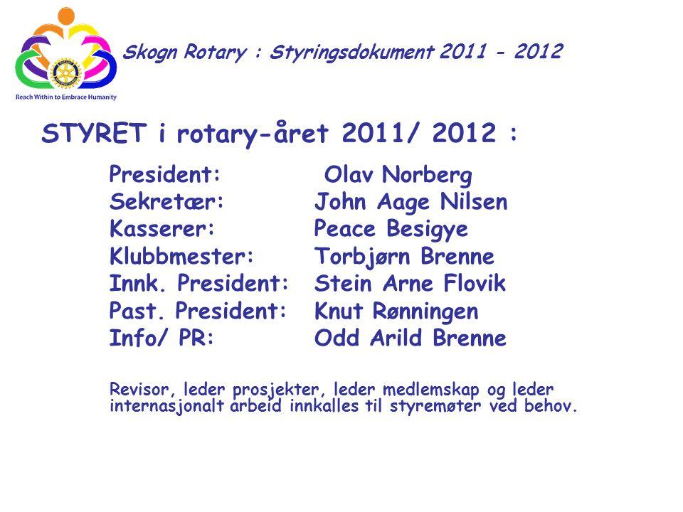 STYRET i rotary-året 2011/ 2012 : President: Olav Norberg Sekretær:John Aage Nilsen Kasserer:Peace Besigye Klubbmester:Torbjørn Brenne Innk. President