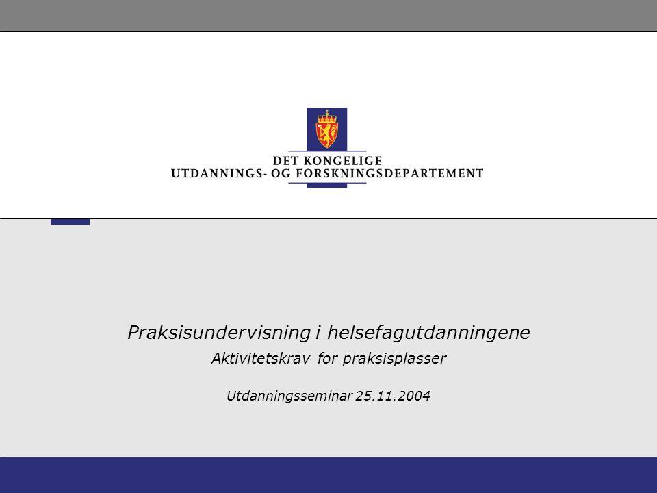 Praksisundervisning i helsefagutdanningene Aktivitetskrav for praksisplasser Utdanningsseminar 25.11.2004