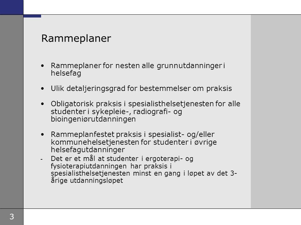 4 Måltall for studenter i praksis Styringsdokumentene for RHF i 2004 Behov for samordning UFD benytter aktivitetskrav som styringsparameter for å sikre kapasitet på helsefagutdanningene