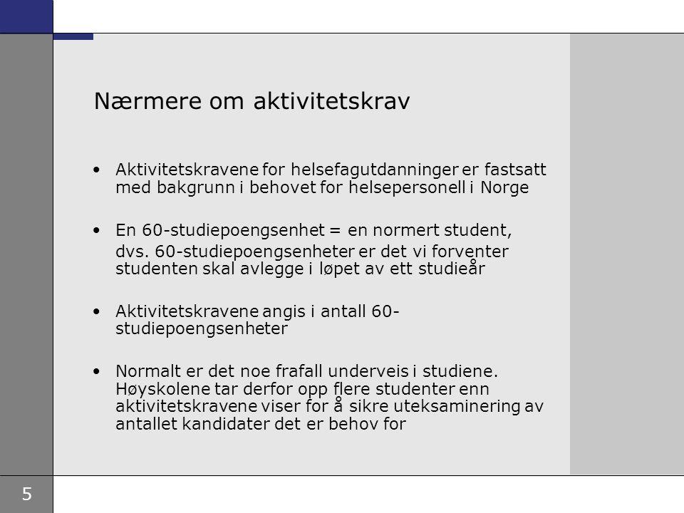 5 Nærmere om aktivitetskrav Aktivitetskravene for helsefagutdanninger er fastsatt med bakgrunn i behovet for helsepersonell i Norge En 60-studiepoengsenhet = en normert student, dvs.