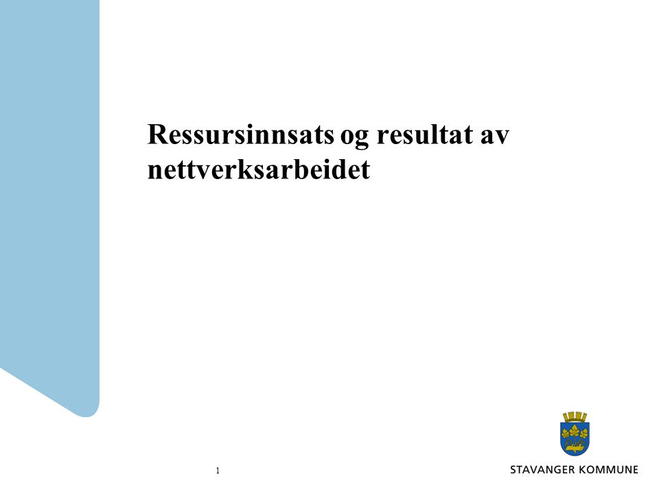 Ressursinnsats og resultat av nettverksarbeidet 1