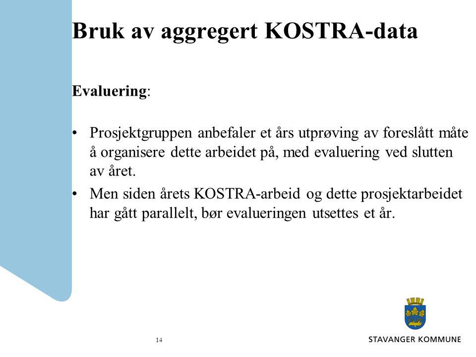 Bruk av aggregert KOSTRA-data Evaluering: Prosjektgruppen anbefaler et års utprøving av foreslått måte å organisere dette arbeidet på, med evaluering ved slutten av året.