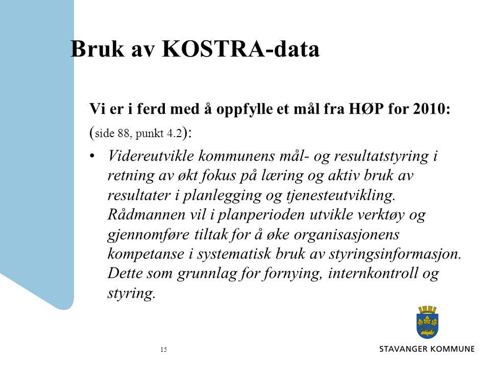 Bruk av KOSTRA-data Vi er i ferd med å oppfylle et mål fra HØP for 2010: ( side 88, punkt 4.2 ): Videreutvikle kommunens mål- og resultatstyring i retning av økt fokus på læring og aktiv bruk av resultater i planlegging og tjenesteutvikling.