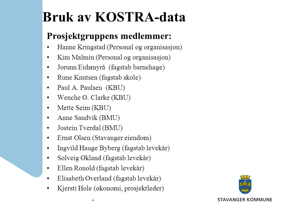 Bruk av KOSTRA-data Prosjektgruppens medlemmer: Hanne Kringstad (Personal og organisasjon) Kim Malmin (Personal og organisasjon) Jorunn Eidsmyrå (fagstab barnehage) Rune Knutsen (fagstab skole) Paul A.