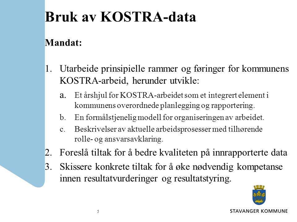 Bruk av KOSTRA-data Gjennomføringen av prosjektet: Prosjektgruppens medlemmer har oppfattet gjennomføringen av prosjektet som grundig og aktivitetsskapende.