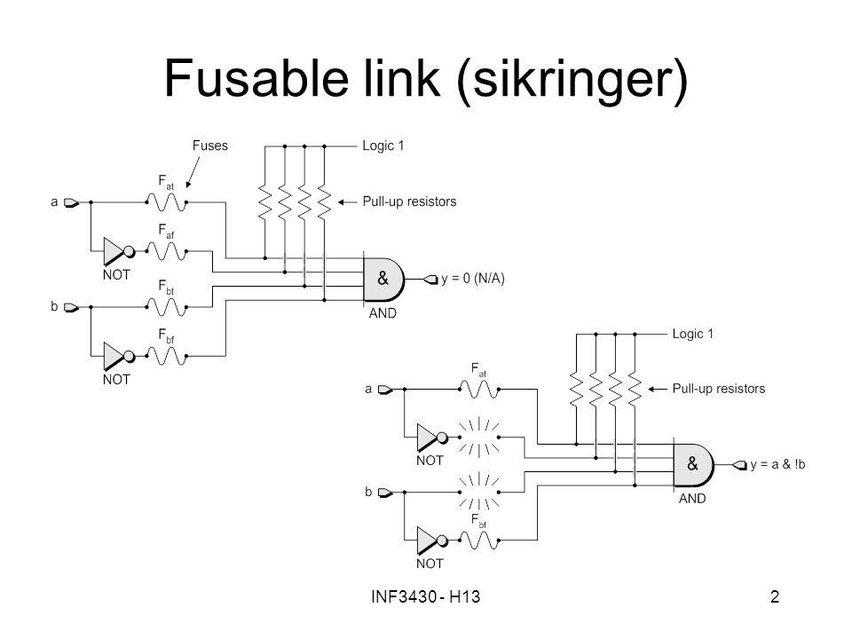 INF3430 - H133 Antifuse Prinsipp: –Konfigurasjon lagres i FPGA ved at det lages kortslutninger ved bruk av høy spenning.