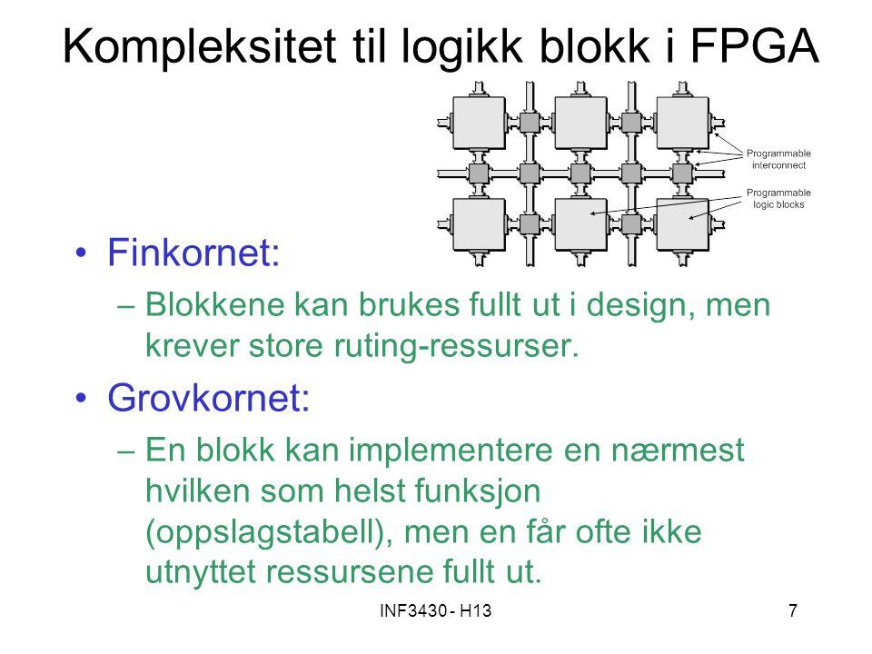 INF3430 - H137 Kompleksitet til logikk blokk i FPGA Finkornet: –Blokkene kan brukes fullt ut i design, men krever store ruting-ressurser. Grovkornet:
