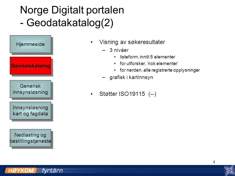 4 Norge Digitalt portalen - Geodatakatalog(2) Visning av søkeresultater –3 nivåer listeform, inntil 5 elementer for utforsker, 'nok elementer' for nerden, alle registrerte opplysninger –grafisk i kartinnsyn Støtter ISO19115 (--) Geodatakatalog Hjemmeside Generisk innsynsløsning Generisk innsynsløsning Innsynsløsning kart og fagdata Innsynsløsning kart og fagdata Nedlasting og bestillingstjeneste Nedlasting og bestillingstjeneste