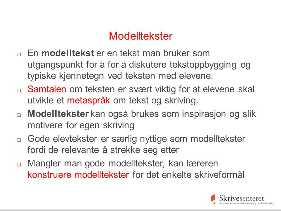 Modelltekster  En modelltekst er en tekst man bruker som utgangspunkt for å for å diskutere tekstoppbygging og typiske kjennetegn ved teksten med elevene.