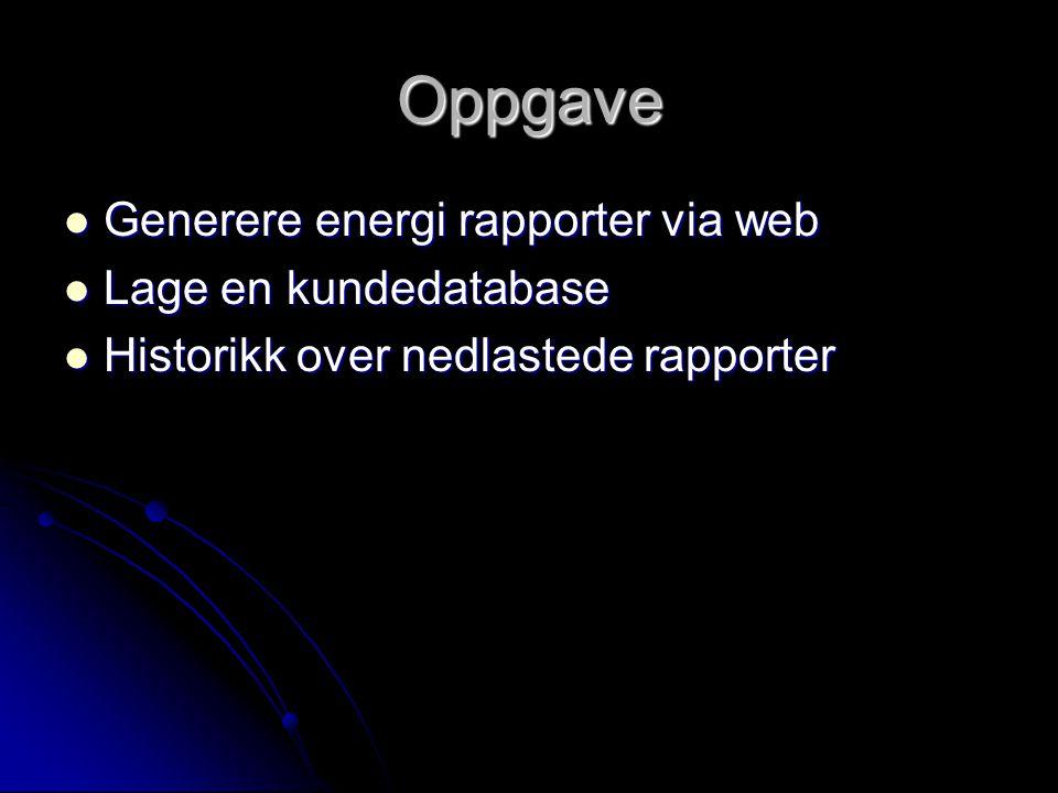 Oppgave Generere energi rapporter via web Generere energi rapporter via web Lage en kundedatabase Lage en kundedatabase Historikk over nedlastede rapp