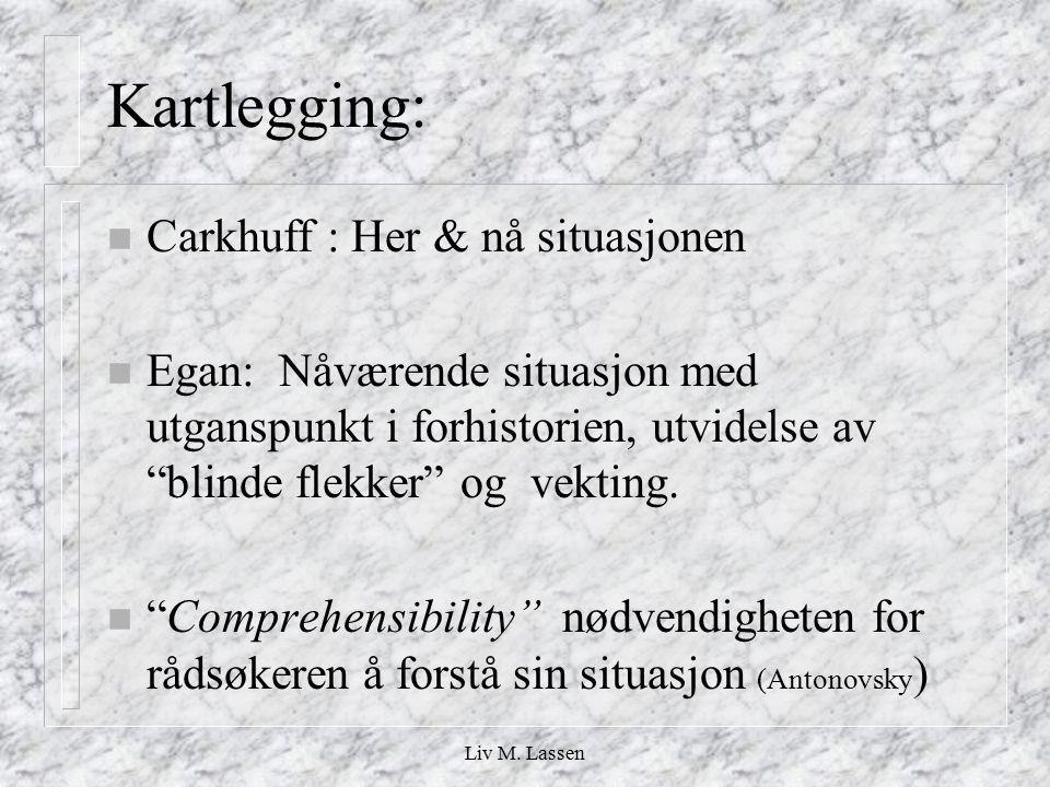 """Liv M. Lassen Kartlegging: n Carkhuff : Her & nå situasjonen n Egan: Nåværende situasjon med utganspunkt i forhistorien, utvidelse av """"blinde flekker"""""""