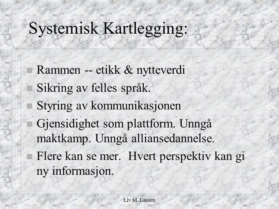 Liv M. Lassen Systemisk Kartlegging: n Rammen -- etikk & nytteverdi n Sikring av felles språk. n Styring av kommunikasjonen n Gjensidighet som plattfo