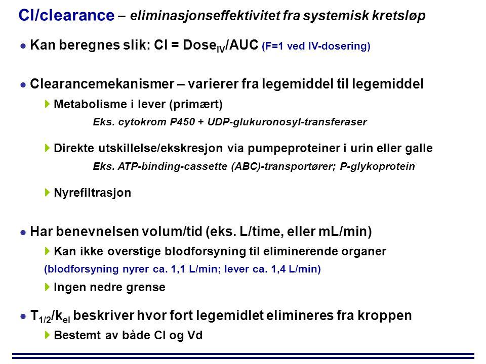 Cl/clearance – eliminasjonseffektivitet fra systemisk kretsløp  Kan beregnes slik: Cl = Dose IV /AUC (F=1 ved IV-dosering)  Clearancemekanismer – varierer fra legemiddel til legemiddel  Metabolisme i lever (primært) Eks.
