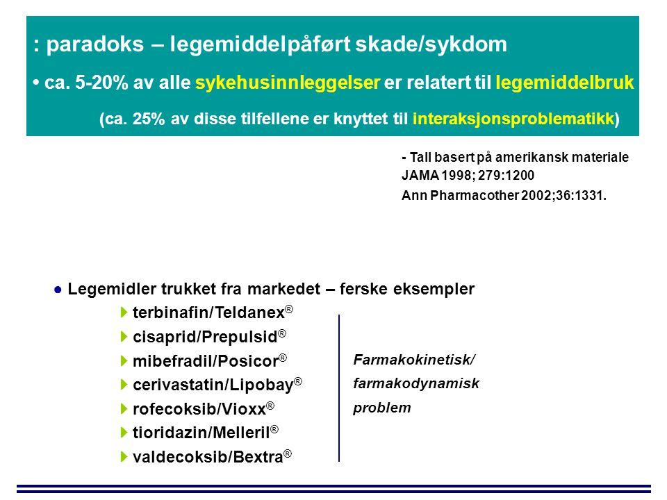 Forelesninger 3/5: kl 0915-1100  Biotilgjengelighet  Mer inngående om begrensende mekanismer  Variasjon i biotilgjengelighet  Absorpsjonsinteraksjoner  Betydning av matinntak  Bioekvivalens - likhetstesting av preparater med samme virkestoff  Doseringstilpasning og oppfølging  Design av doseregime  Oppfølging basert på konsentrasjonsmåling - therapeutic drug monitoring (TDM) [Espen Molden: emolden@farmasi.uio.no]