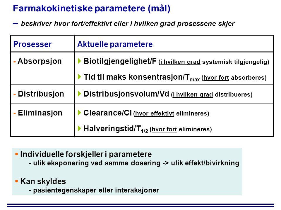 Farmakokinetiske parametere (mål) – beskriver hvor fort/effektivt eller i hvilken grad prosessene skjer ProsesserAktuelle parametere - Absorpsjon  Biotilgjengelighet/F (i hvilken grad systemisk tilgjengelig)  Tid til maks konsentrasjon/T max (hvor fort absorberes) - Distribusjon  Distribusjonsvolum/Vd (i hvilken grad distribueres) - Eliminasjon  Clearance/Cl (hvor effektivt elimineres)  Halveringstid/T 1/2 (hvor fort elimineres)  Individuelle forskjeller i parametere - ulik eksponering ved samme dosering -> ulik effekt/bivirkning  Kan skyldes - pasientegenskaper eller interaksjoner