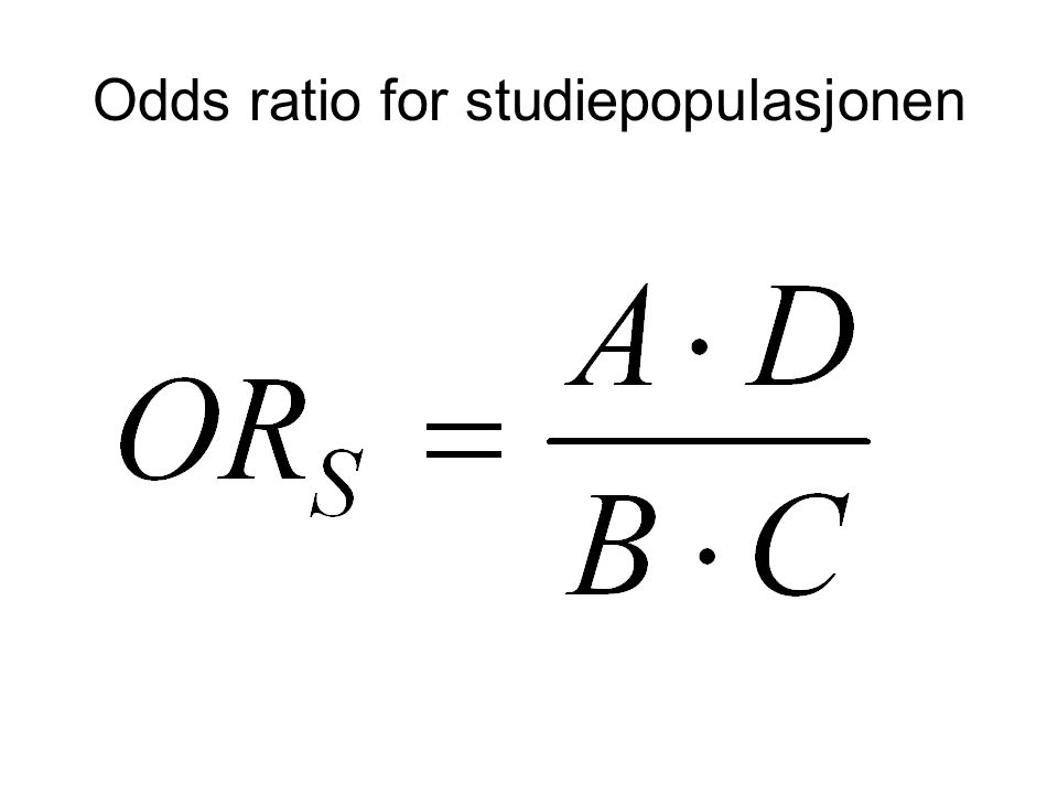 Odds ratio for studiepopulasjonen