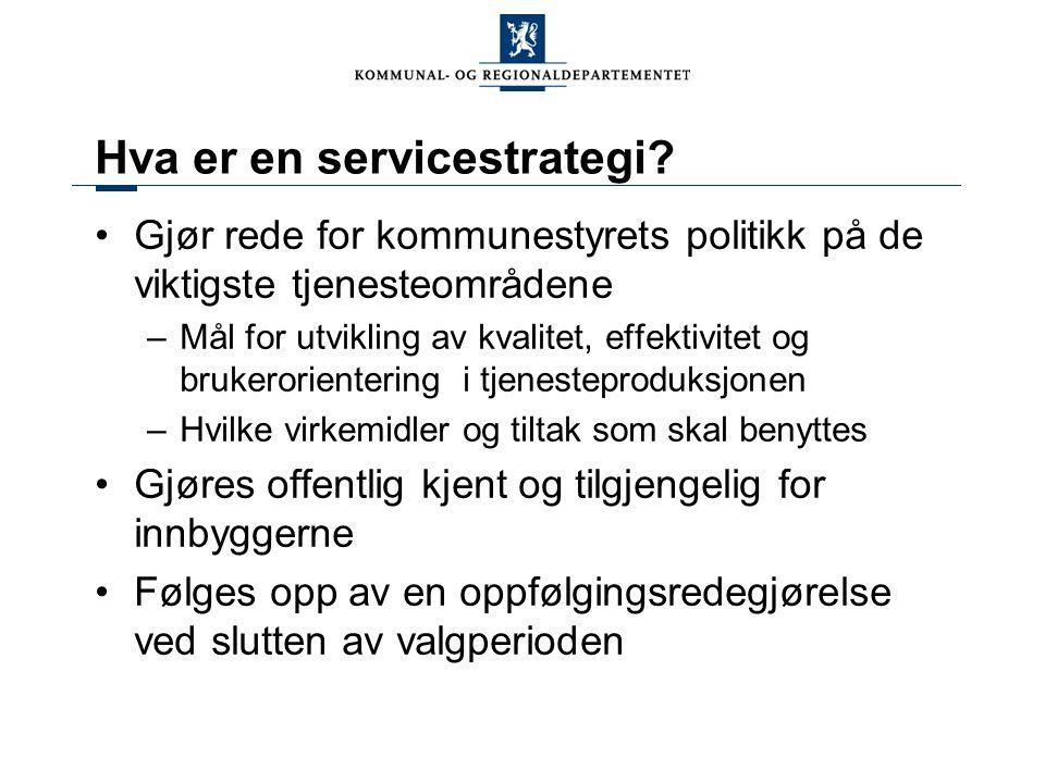 Hva er en servicestrategi? Gjør rede for kommunestyrets politikk på de viktigste tjenesteområdene –Mål for utvikling av kvalitet, effektivitet og bruk