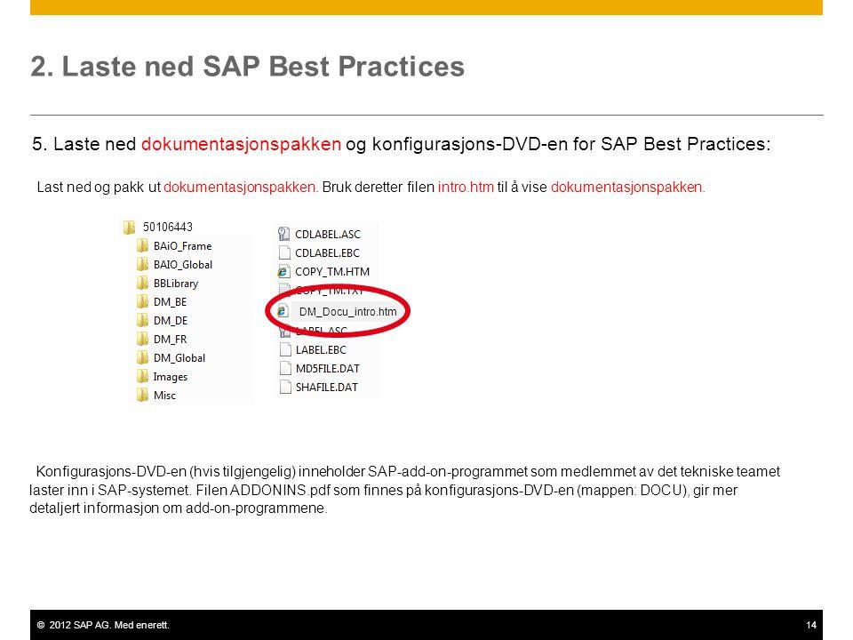 ©2012 SAP AG. Med enerett.14 2. Laste ned SAP Best Practices Last ned og pakk ut dokumentasjonspakken. Bruk deretter filen intro.htm til å vise dokume