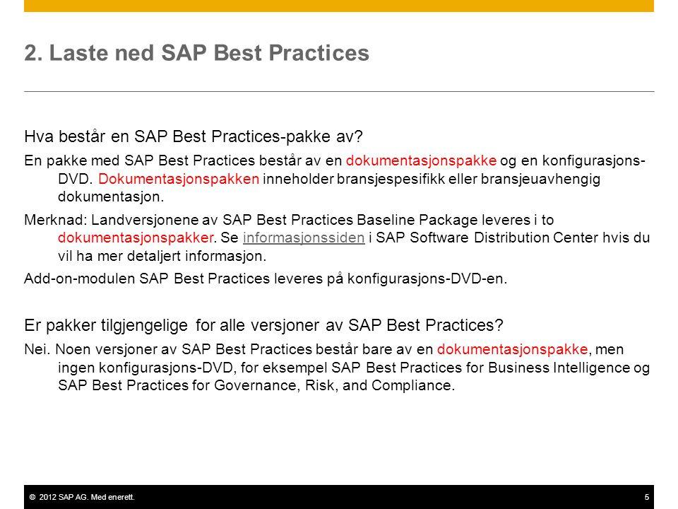 ©2012 SAP AG. Med enerett.5 2. Laste ned SAP Best Practices Hva består en SAP Best Practices-pakke av? En pakke med SAP Best Practices består av en do