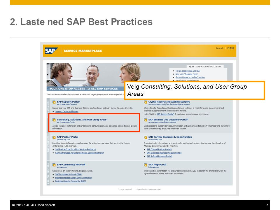 ©2012 SAP AG. Med enerett.7 2. Laste ned SAP Best Practices Velg Consulting, Solutions, and User Group Areas