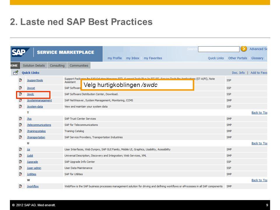 ©2012 SAP AG. Med enerett.9 2. Laste ned SAP Best Practices Velg hurtigkoblingen /swdc