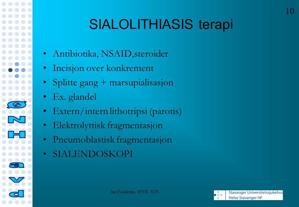 SIALOLITHIASIS terapi Antibiotika, NSAID,steroider Incisjon over konkrement Splitte gang + marsupialisasjon Ex. glandel Extern/intern lithotripsi (par