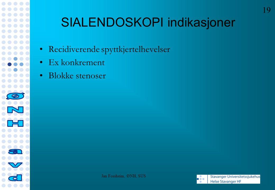 SIALENDOSKOPI indikasjoner Recidiverende spyttkjertelhevelser Ex konkrement Blokke stenoser 19 Jan Fossheim, ØNH, SUS