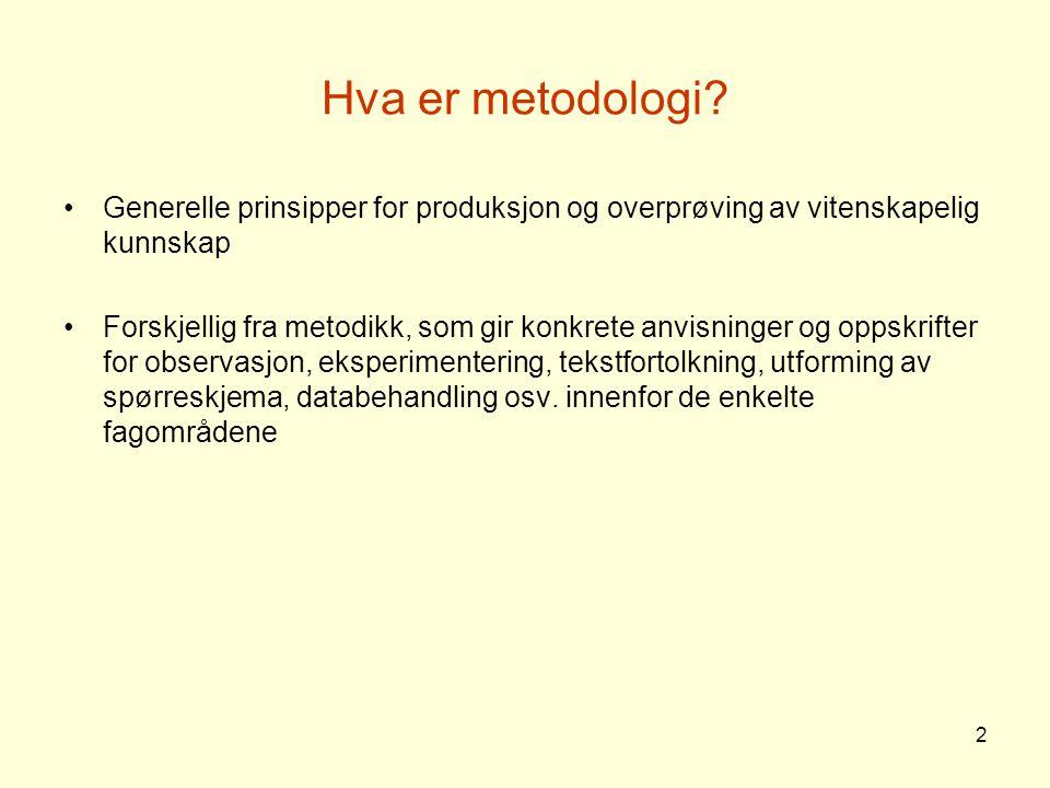 2 Hva er metodologi? Generelle prinsipper for produksjon og overprøving av vitenskapelig kunnskap Forskjellig fra metodikk, som gir konkrete anvisning