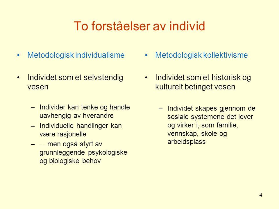 4 To forståelser av individ Metodologisk individualisme Individet som et selvstendig vesen –Individer kan tenke og handle uavhengig av hverandre –Individuelle handlinger kan være rasjonelle –...