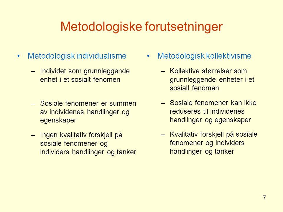 7 Metodologiske forutsetninger Metodologisk individualisme –Individet som grunnleggende enhet i et sosialt fenomen –Sosiale fenomener er summen av ind