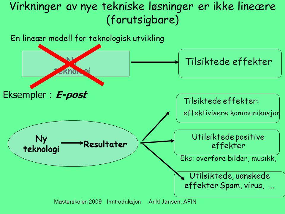 Masterskolen 2009 Inntroduksjon Arild Jansen, AFIN Virkninger av nye tekniske løsninger er ikke lineære (forutsigbare) En lineær modell for teknologis