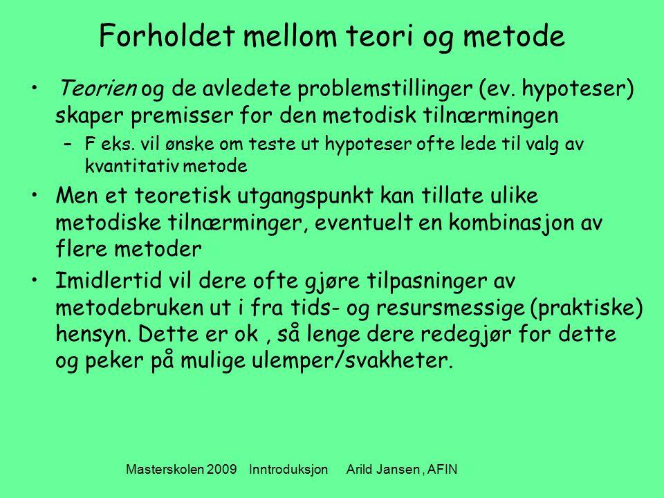 Masterskolen 2009 Inntroduksjon Arild Jansen, AFIN Forholdet mellom teori og metode Teorien og de avledete problemstillinger (ev. hypoteser) skaper pr