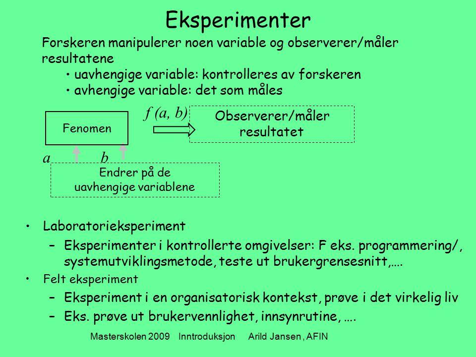 Masterskolen 2009 Inntroduksjon Arild Jansen, AFIN Eksperimenter Laboratorieksperiment –Eksperimenter i kontrollerte omgivelser: F eks. programmering/