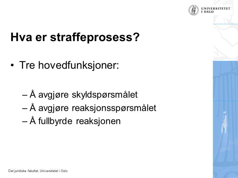 Det juridiske fakultet, Universitetet i Oslo Hva er straffeprosess? Tre hovedfunksjoner: –Å avgjøre skyldspørsmålet –Å avgjøre reaksjonsspørsmålet –Å