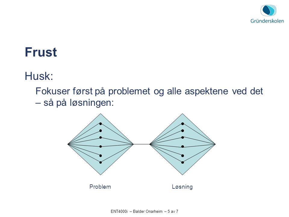 ENT4000i – Balder Onarheim – 5 av 7 Frust Husk: Fokuser først på problemet og alle aspektene ved det – så på løsningen: ProblemLøsning