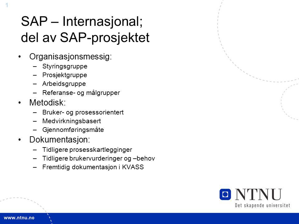 1 SAP – Internasjonal; del av SAP-prosjektet Organisasjonsmessig: –Styringsgruppe –Prosjektgruppe –Arbeidsgruppe –Referanse- og målgrupper Metodisk: –Bruker- og prosessorientert –Medvirkningsbasert –Gjennomføringsmåte Dokumentasjon: –Tidligere prosesskartlegginger –Tidligere brukervurderinger og –behov –Fremtidig dokumentasjon i KVASS