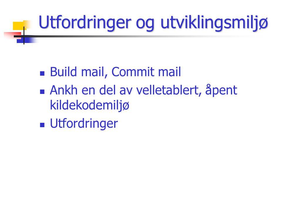 Utfordringer og utviklingsmiljø Build mail, Commit mail Ankh en del av velletablert, åpent kildekodemiljø Utfordringer