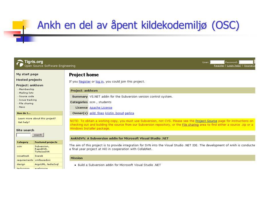 Ankh en del av åpent kildekodemiljø (OSC)