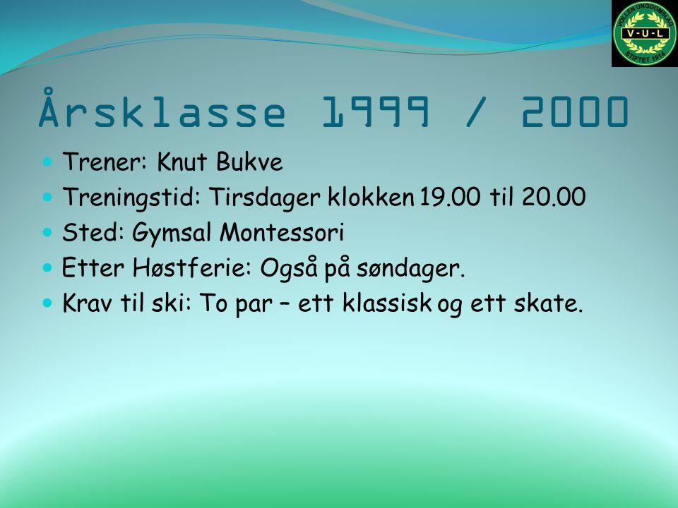 Årsklasse 1999 / 2000 Trener: Knut Bukve Treningstid: Tirsdager klokken 19.00 til 20.00 Sted: Gymsal Montessori Etter Høstferie: Også på søndager.