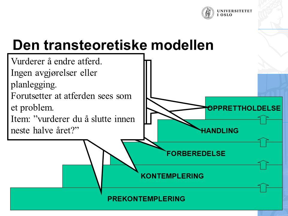 Håvar Brendryen, Stipendiat, Psykologisk institutt Den transteoretiske modellen OPPRETTHOLDELSE HANDLING FORBEREDELSE KONTEMPLERING PREKONTEMPLERING K