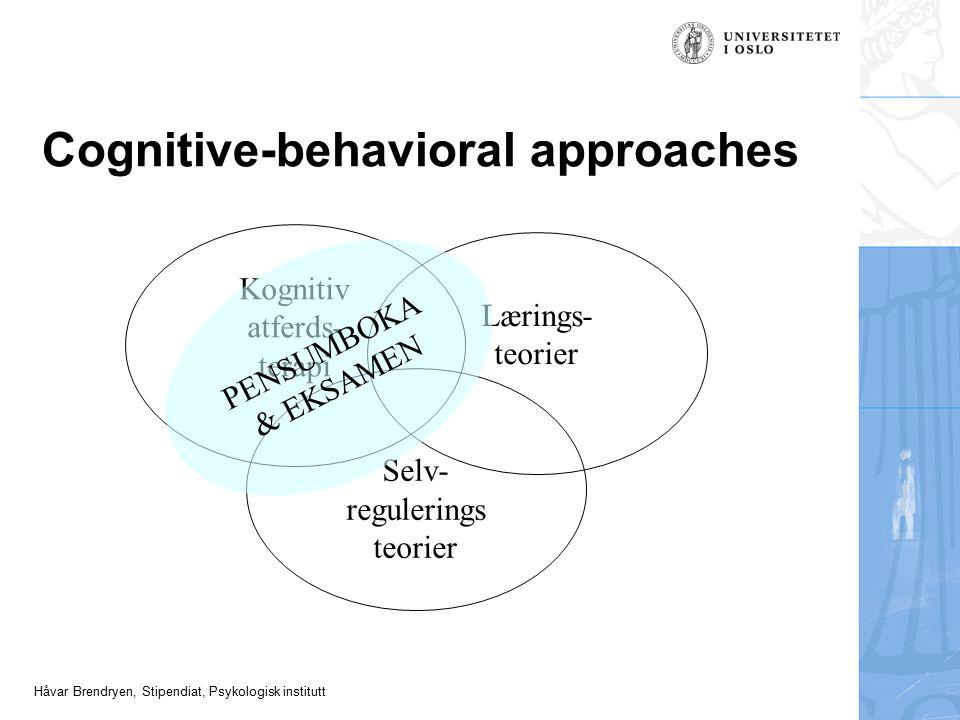 Håvar Brendryen, Stipendiat, Psykologisk institutt Cognitive-behavioral approaches Kognitiv atferds- terapi Lærings- teorier Selv- regulerings teorier