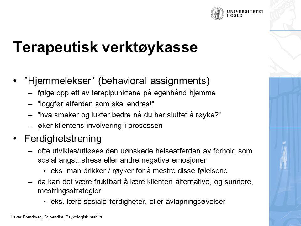"""Håvar Brendryen, Stipendiat, Psykologisk institutt Terapeutisk verktøykasse """"Hjemmelekser"""" (behavioral assignments) –følge opp ett av terapipunktene p"""