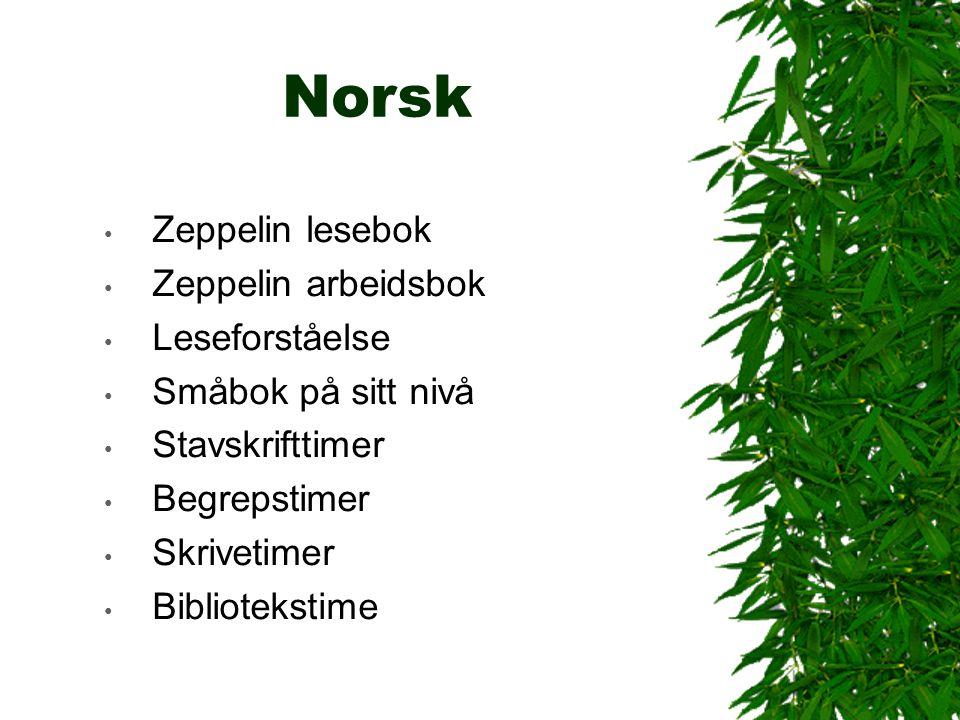 Norsk Zeppelin lesebok Zeppelin arbeidsbok Leseforståelse Småbok på sitt nivå Stavskrifttimer Begrepstimer Skrivetimer Bibliotekstime